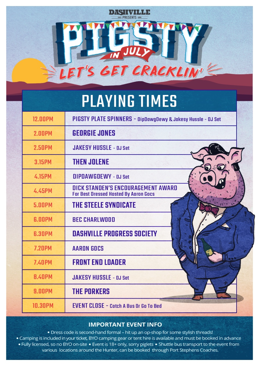 PigSty in July 2018 set times playing schedule