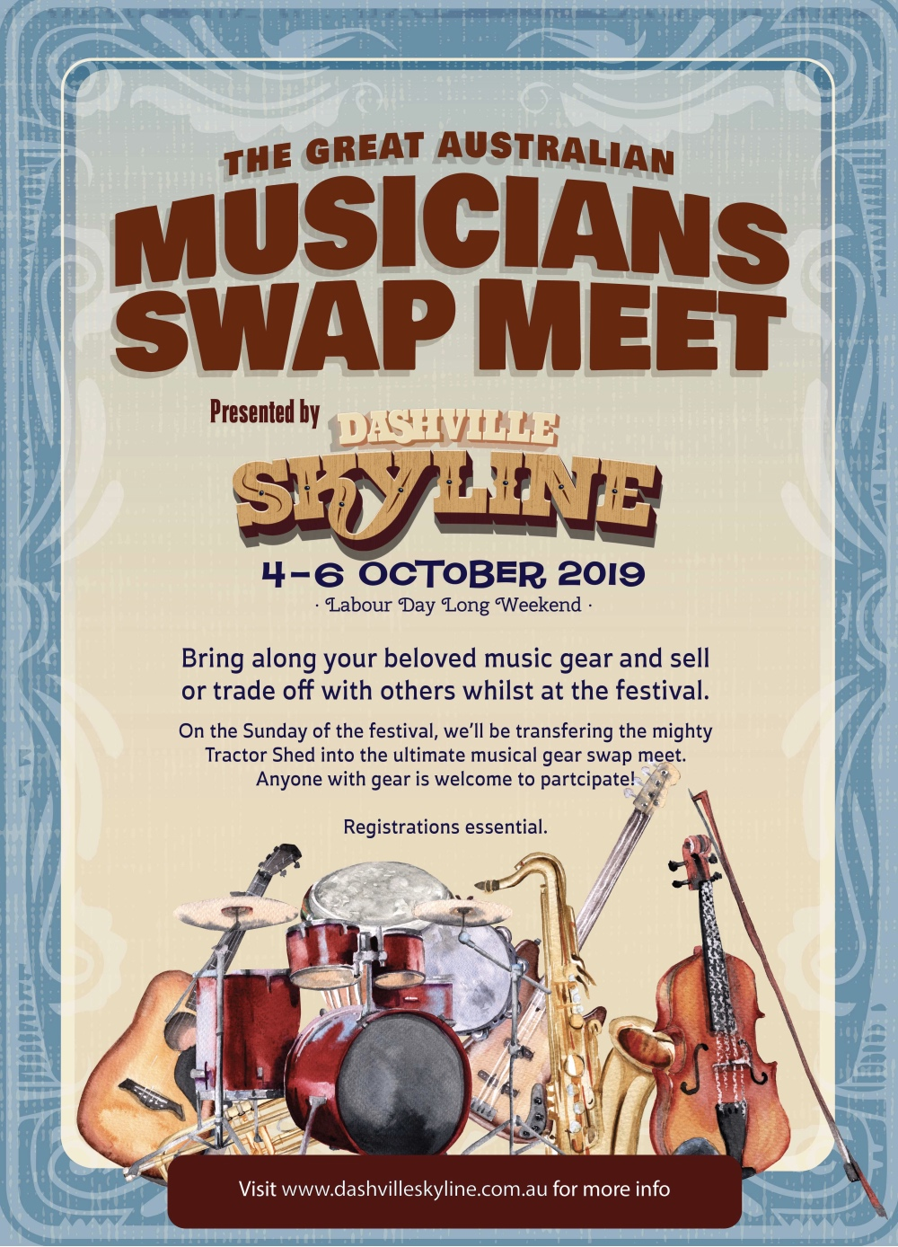 dashville skyline swap meet musicians music gear Hunter Valley
